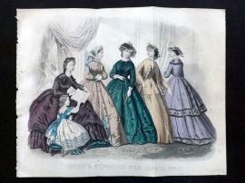 Godey 1865 Hand Col Fashion Print. April